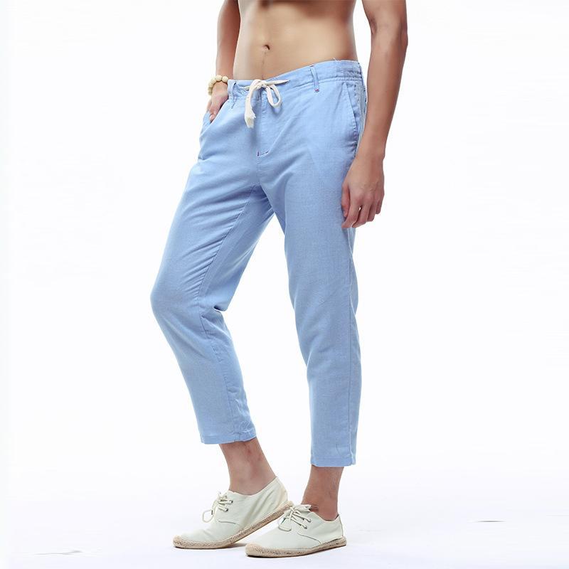 Men Casual estate Harem Pantaloni casuali dell'anca Mens pantaloni di lino coreano pantaloni Hop Traccia Moda uomo pantaloni Harajuku Abbigliamento