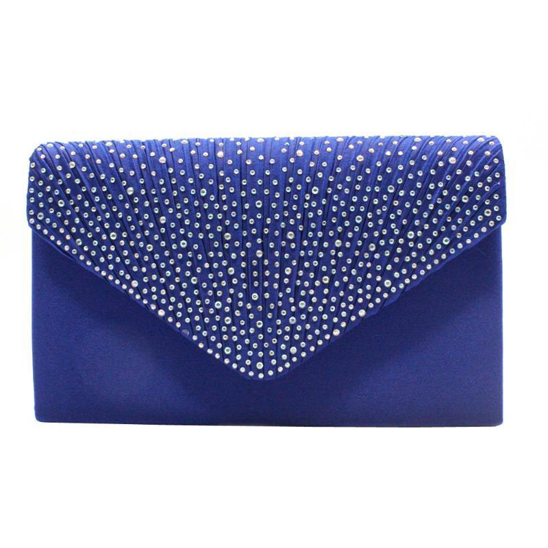 Classic Silk Fabrics AB Color Rhinestone Clutch-Style Western Style Evening Bag Bridal Bag
