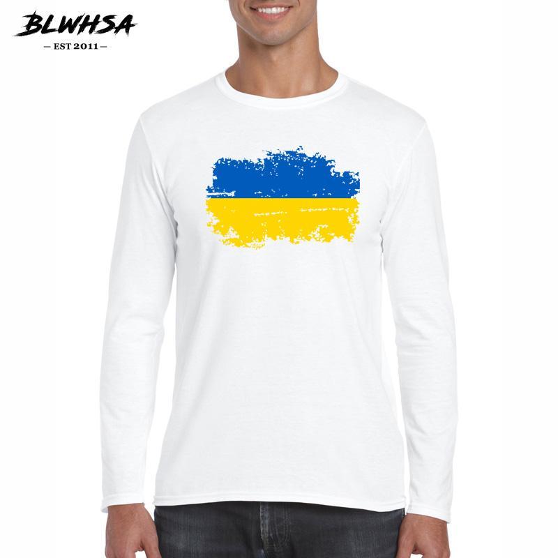 Украина Флаг Ностальгического Стиля Весна Осень Мужчины Хлопок Футболка с длинным рукавом Повседневной Tops 100% хлопок белых футболок для мужчин