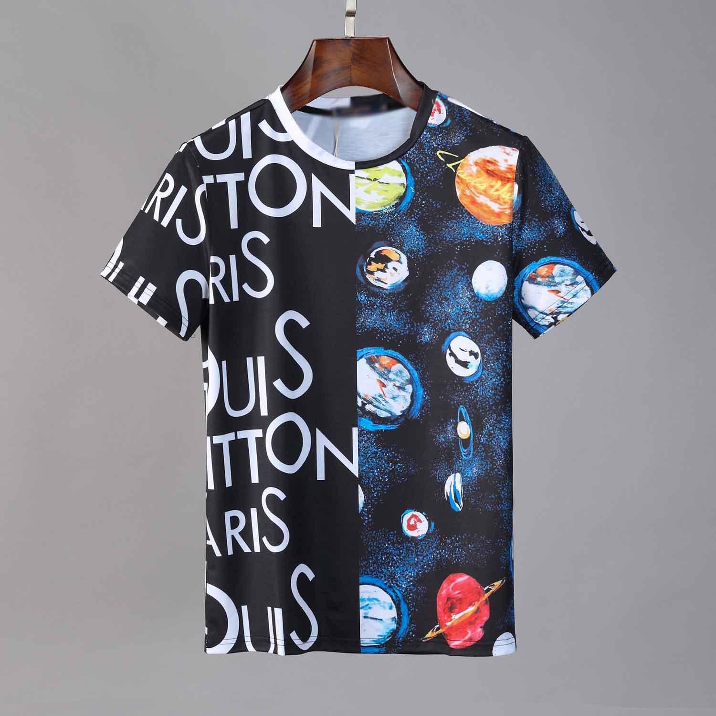 letra v-cuello ocasional de los hombres Camiseta del diseñador de los hombres de la moda de verano la impresión de alta calidad de manga corta