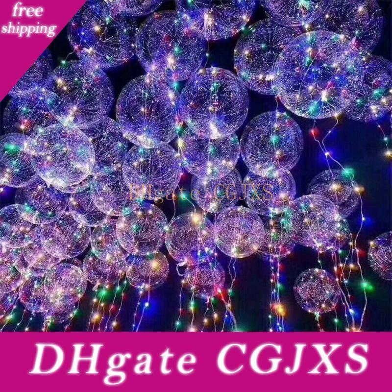 18 İnç Sap Led Balon Işıltılı Şeffaf Helyum Bobo Balon Düğün Doğum Parti Süsleri Çocuk Led Işık Balon DHL