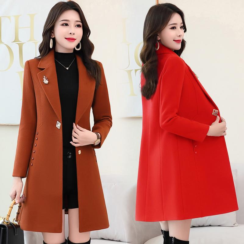 Kadınların beden orta uzunlukta yün ceket kadın ilkbahar ve sonbahar yeni ince uygun ince yün ceket kış uzun kollu eğilim oldu