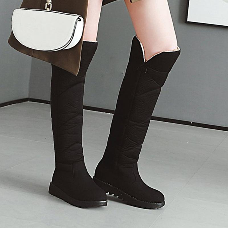 preto botas mulheres joelho alta moda Pure Salto Redondo Cor Toe Deslizamento-em botas flat sobre os joelhos Mulheres Botas # 4