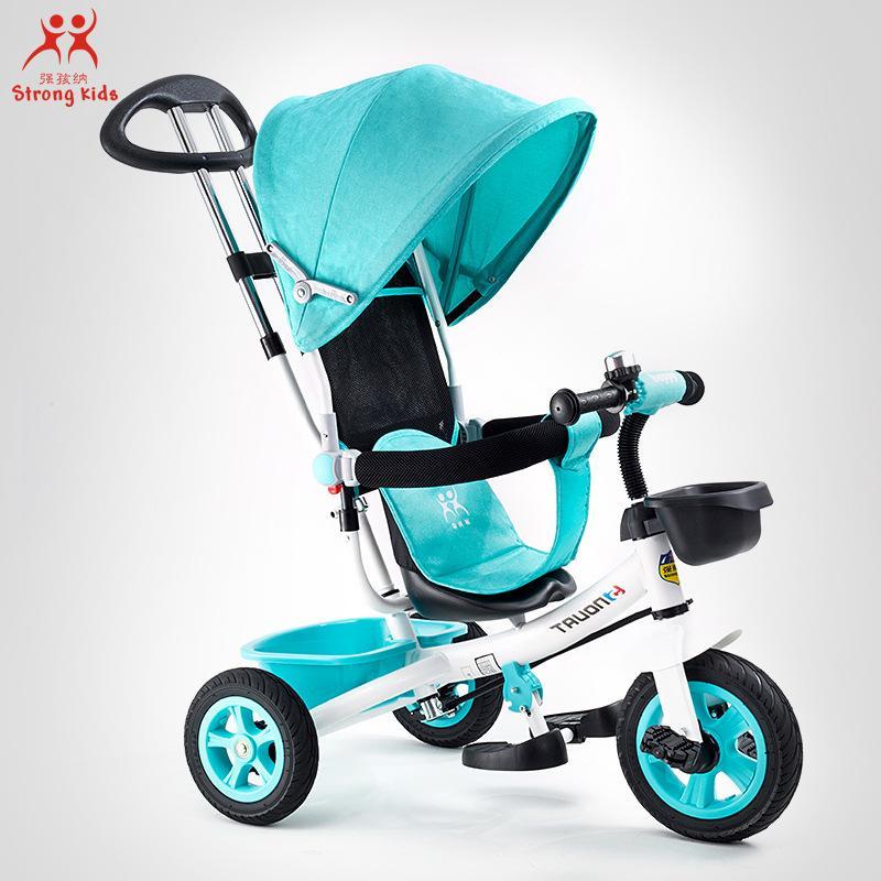Çocuk Tekerlekli Bisiklet Arabası Katlama Üç Tekerlekler Arabası Bisiklet Döner Koltuk Bebek Arabası Dönüştürülebilir Kol Serbest şişirme Tekerlekler