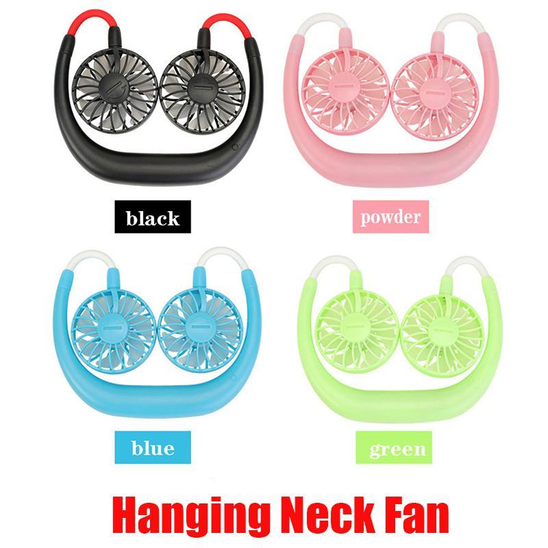 New Hanging Neck Fan USB aufladbare Neckband Faule Ansatz Hände Frei hängend Dual-Kühlsysteme Mini-Ventilator Sports 360 Grad drehbaren Auf Lager