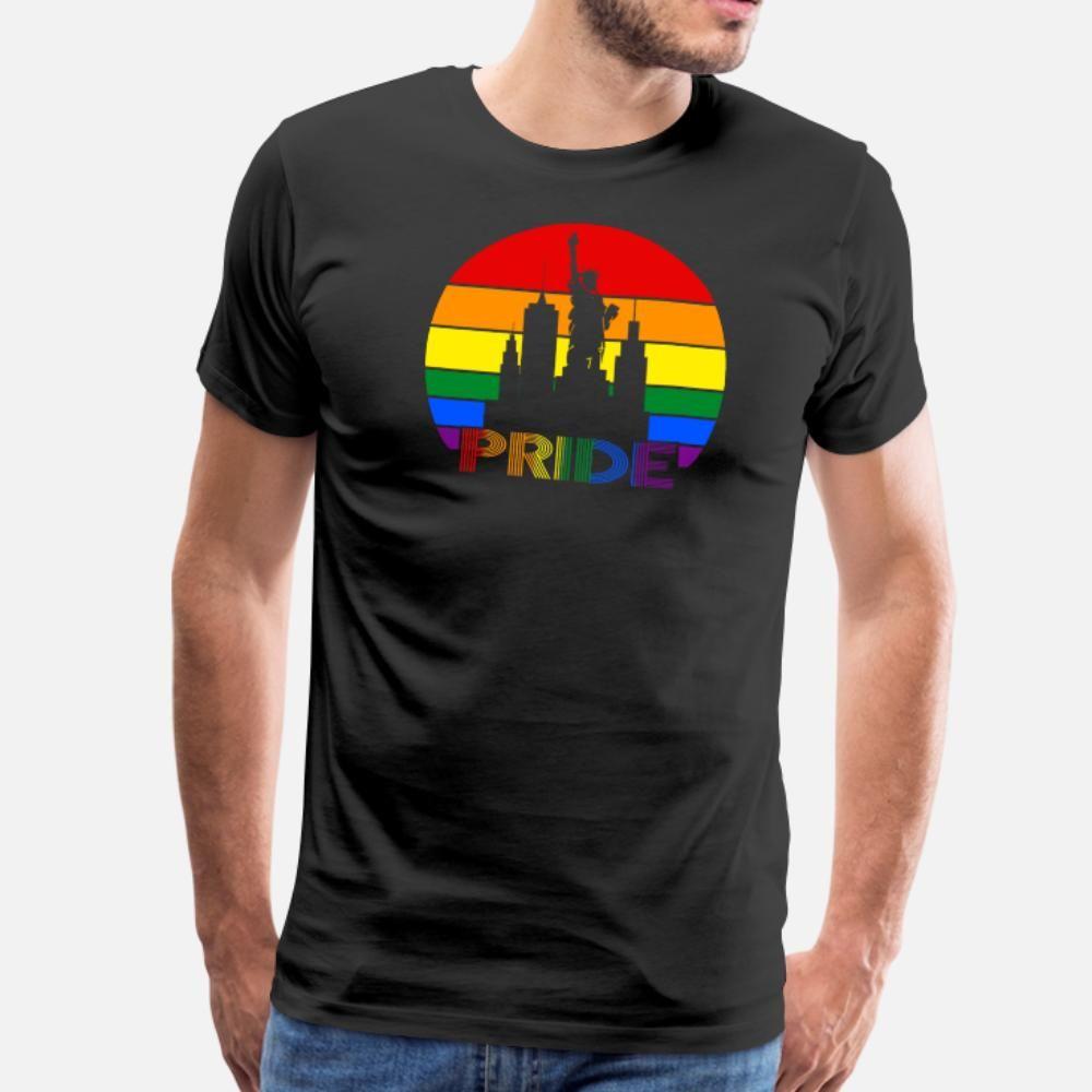 la camisa del tamaño camisa de hombres de la camiseta del diseñador de orgullo LGBT del color de la bandera de América Libertad S-3XL Fotos famosa familia Básico verano
