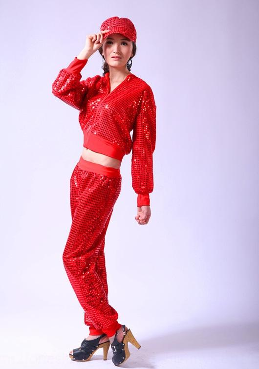 moderno traje de calle de hip hop de sIqmS nuevas mujeres traje de la danza funcionamiento de la etapa de baile de jazz juego de la ropa del traje de lentejuelas / DS