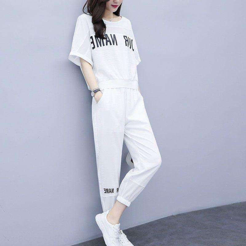 vestito casuale GDjGP svago di estate per le donne 2020 sport estivi stile a due pezzi Nuovo manica corta allentata della moda insieme a due pezzi