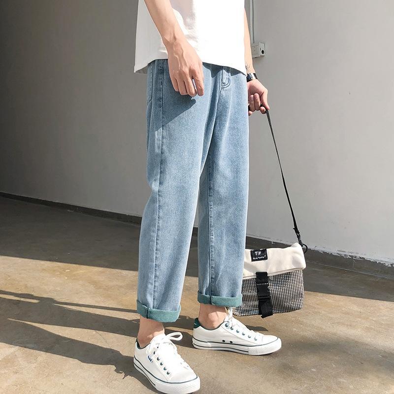 été la marque de mode masculine t2ln1 jeunesse Jeans pantalon de recadrée lâche droite hommes coréens neuf Neuf style branché tcQpt tout match large papa jambe pa