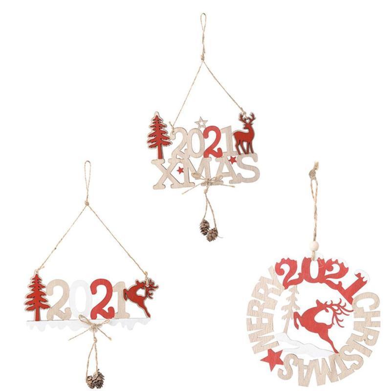 2021 عيد الميلاد الأيل خشبي معلق قلادة شجرة عيد الميلاد زخرفة السنة الجديدة عيد الميلاد حزب Fetival الديكور المنزلي نافيد كرافت