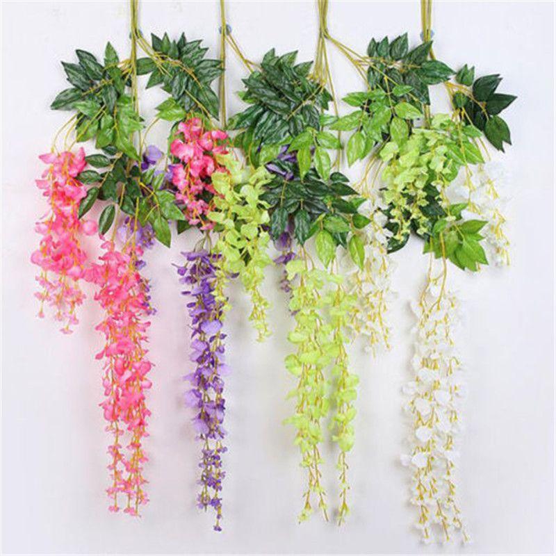 7 Cores elegante seda artificial Supplies flor Wisteria Flower Vine Rattan para decoração de jardim Início Wedding 75cm e 110 centímetros Disponível