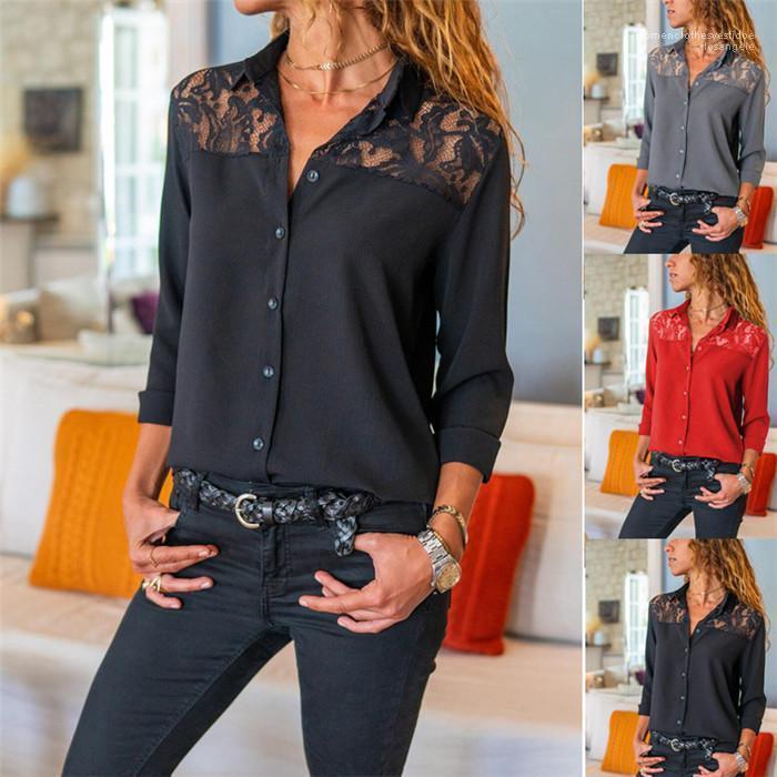 Mode cou Famale Lapel Vêtements décontractés Chemise en mousseline de soie Femmes Printemps Designer Chemise à manches longues en dentelle Brochage
