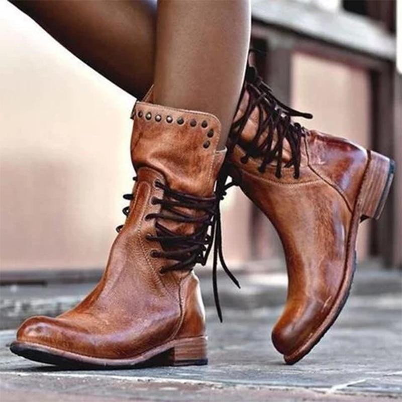 Invierno Mujeres PU media pantorrilla botas con cordones de la cremallera del talón grueso botas remache tubo corto de las mujeres Zapatos de última moda Martin botas
