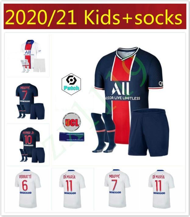 Homens Kids Futebol Camisas Paris 2020 2021 Mbappe Cavani Futebol Jerseys 19 20 21 Neymar Jr Icardi Marquinhos Kits Terceiro Maillot de pé