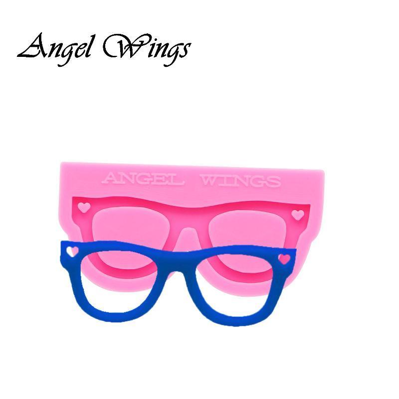Brilhante chaveiros forma Óculos Silicone Moldes DIY Jóias chaveiro molde de resina epóxi Mold Personalizado 0157