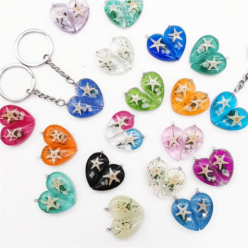 Handmade Love Heart Starfish Sequin Resin Keychain Lovers Charm Couple Keyrings Key Chain Rings Holder for Gifts Accessories