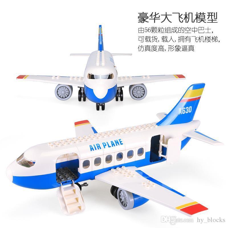 56 stücke Kinder Blöcke Kreative Spielzeug Kinder Partikelmontage Bildungsmodell Für Flugzeug Gebäude Große Super Jungen Geschenk 05 NNOQB