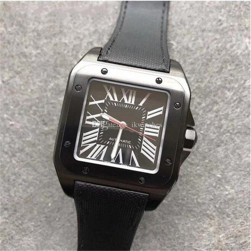 Venda quente nova moda homem relógio preto caso negro relógio relógio automático movimento relógios de aço inoxidável 081 frete grátis