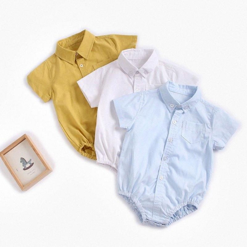 Gentleman shirt Romper Jumpsuit corpo lapela macacãozinho mangas curtas lapela Formal para festa de aniversário do recém-nascido Criança Bebé infantil que ZC4v #