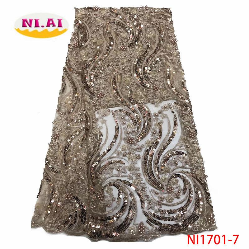 2020 nuevo diseño tela africana del cordón de la alta calidad francesa Cuentas de Nigeria bordado encaje de tul con lentejuelas Tela NI1701 7