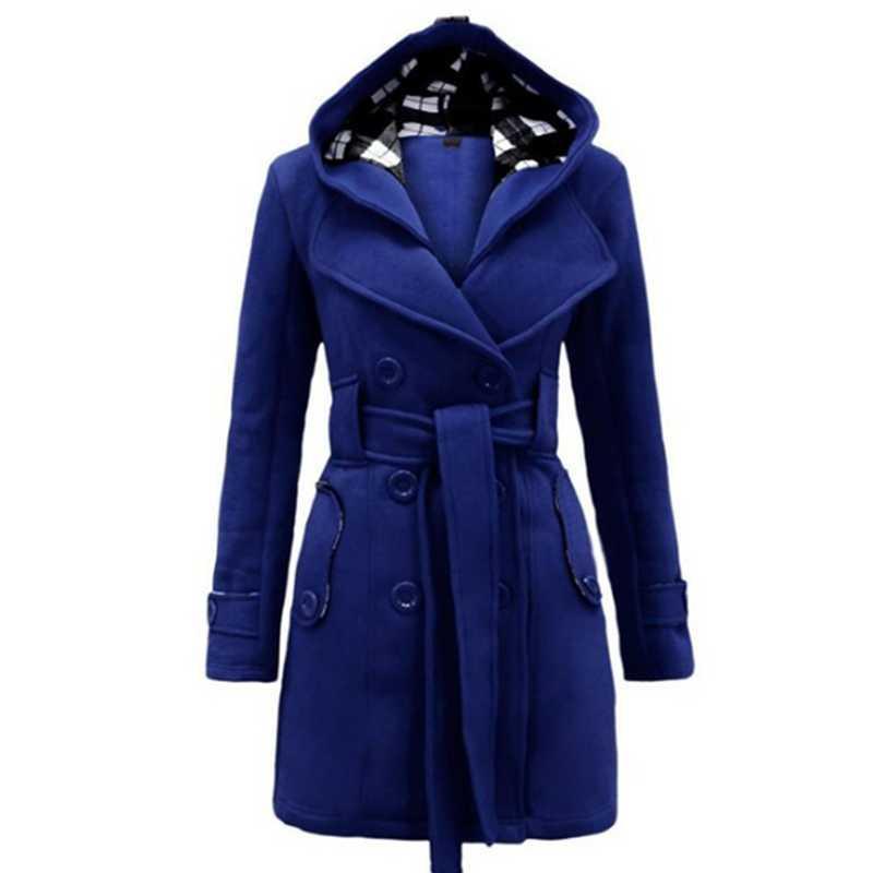 여성용 양모 블렌드 숙녀 이동식 후드 코트 슬림 더블 브레스트 벨트 자켓 가을 겨울 혼합 캐주얼 솔리드 컬러 웜 코트