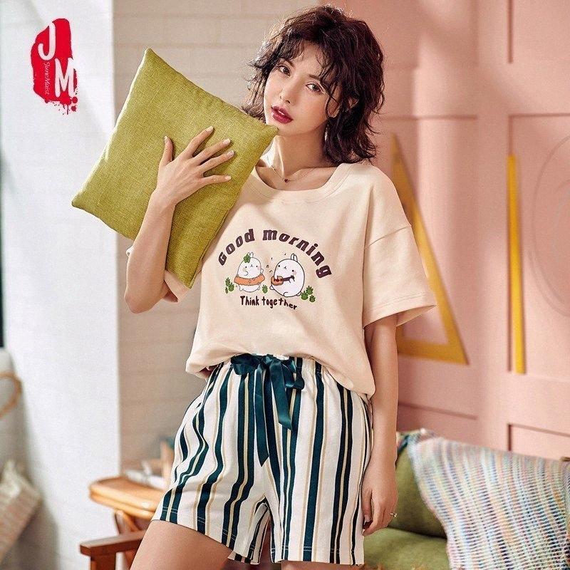 Женщины Pajama наборы 2019 лето 100% хлопок мультфильм Короткой Пижамы Homewear животные пижама пижама Женщина Пижама Женщина Шорты Y200425 anBy #