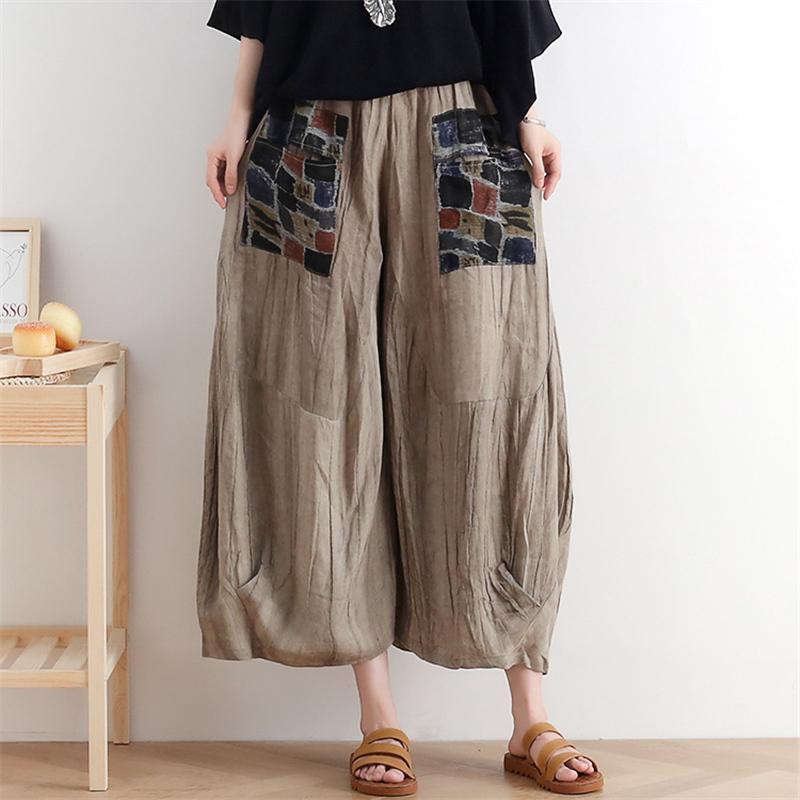 Johnature Women Retro Wide Leg Pants Patchwork Cotton Linen Trouser Elastic Waist Loose Autumn Clothes 2020 New Female Pants