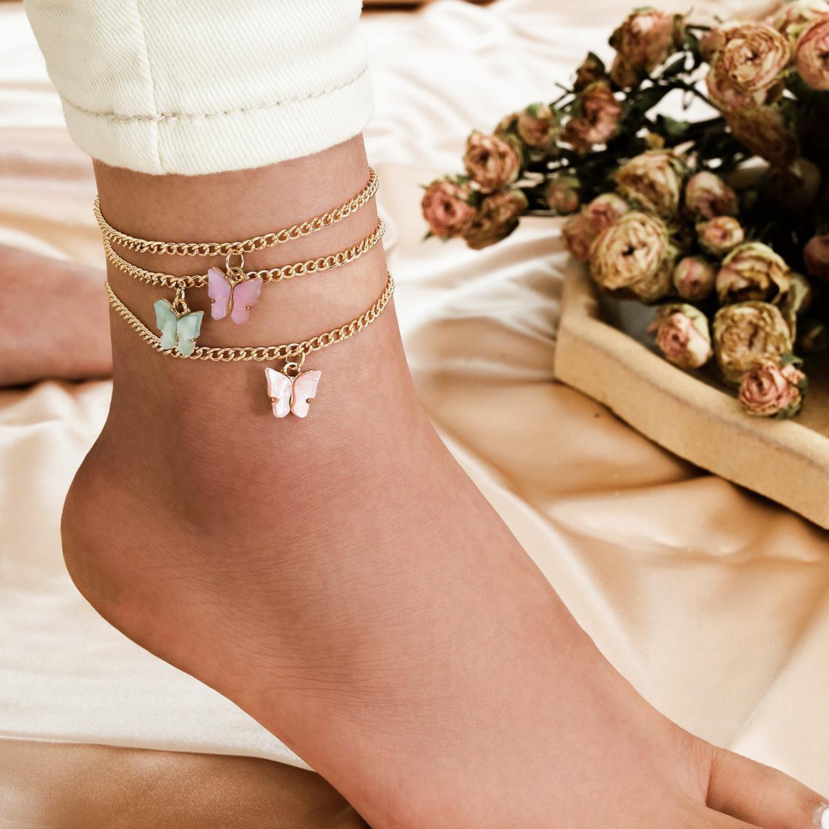 Femmes Bracelets de cheville Chaînes 3PCS Set acrylique papillon Tassel Boho plage Bracelets de cheville Porte-pied jambe Bracelets Pied Bracelet cheville chaîne de bijoux de pied