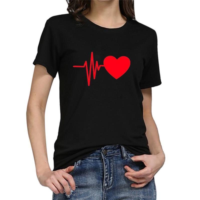 Suelta de manga corta del corazón que funciona camiseta gusta la moda de las mujeres camiseta de la impresión Casual O-Cuello Top # 2h04