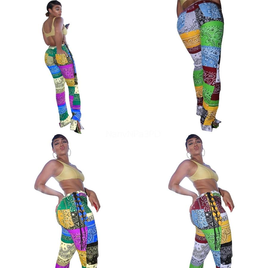 Pantolon Moda Spor Le # 652 Running Güzel Moda Patchwork Paisley strappy Bölünmüş Pantolon Tayt Yüksek Bel Spor Yoga Pantolon Bayan Spor
