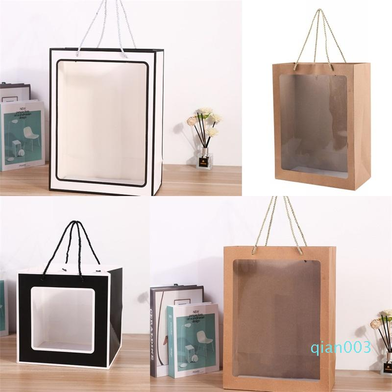Paper Material Gift Sack PVC Transparent Flowers Wrap Bag Plush Doll Clothing Ivory Board Bags New Arrival 2 85xm2 L1
