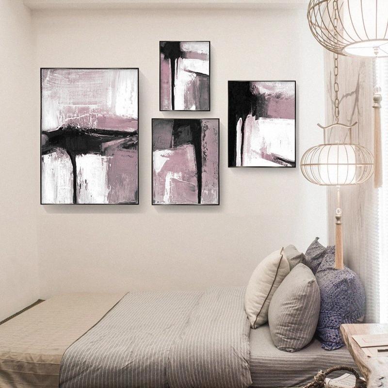 Art nordique rose toile blanche brosse peinture abstraite d'affiche Minimaliste Accrochage pour Living Room Home Decor moderne GIo3 #