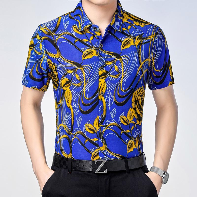 2020 Man Floral Verão imprimiu a camisa de manga curta masculina Flores Vestido camisa impressão