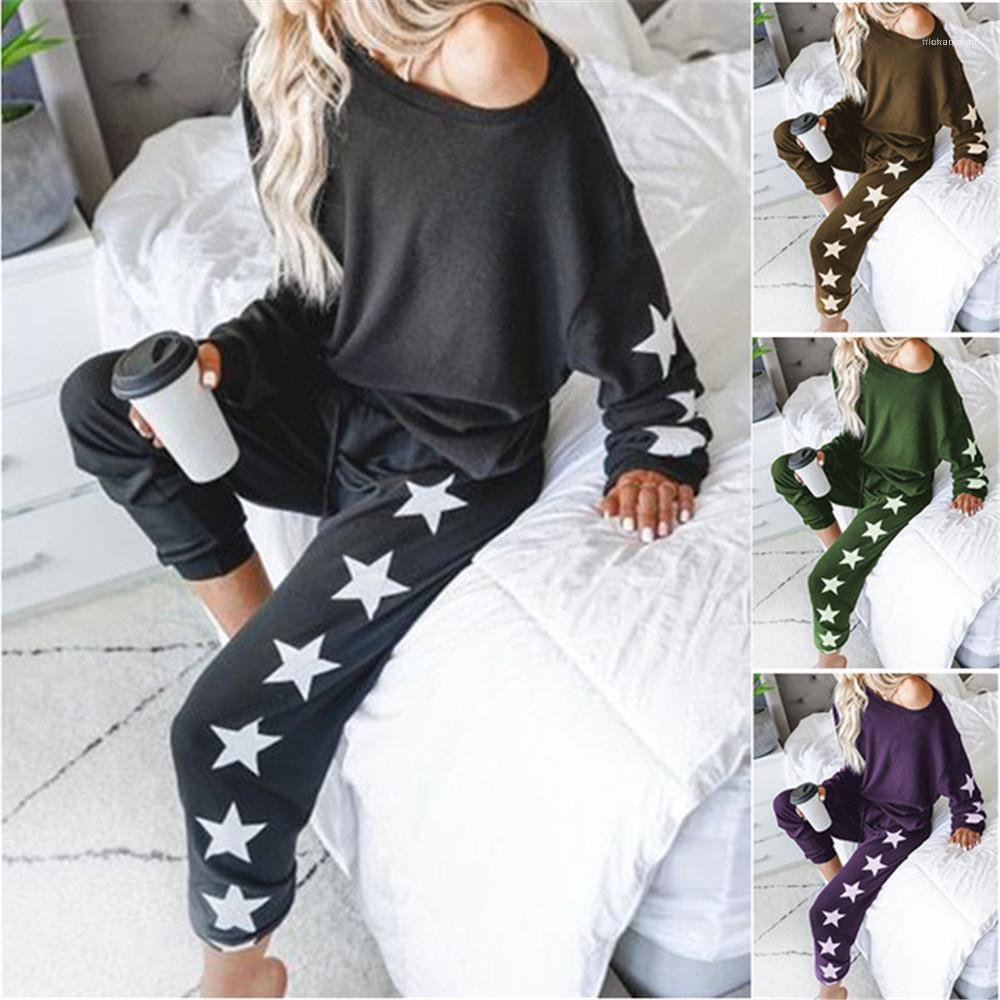Casual Long Sleeve Loose 2PCS Sets Spring Autumn Solid Color Ladies Two Pieces Suits Stars Womens Tracksuits