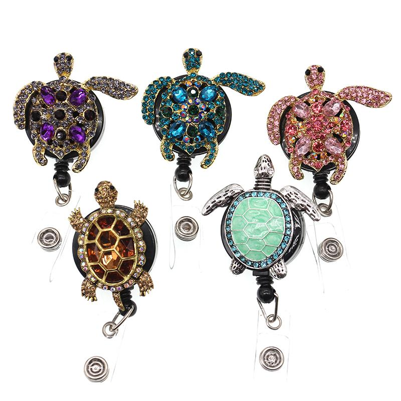 10pcs / lote Bling Rhinestone Retractable Animal Turtle Turting Titular de la tarjeta Treal