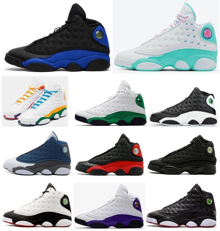 Nuovi 13 13s Nero Hyper Scarpe Reale 3m riflettente fortunato verde Aurora Verde Parco giochi Black Cat donne degli uomini di pallacanestro Flint allevati Sneakers