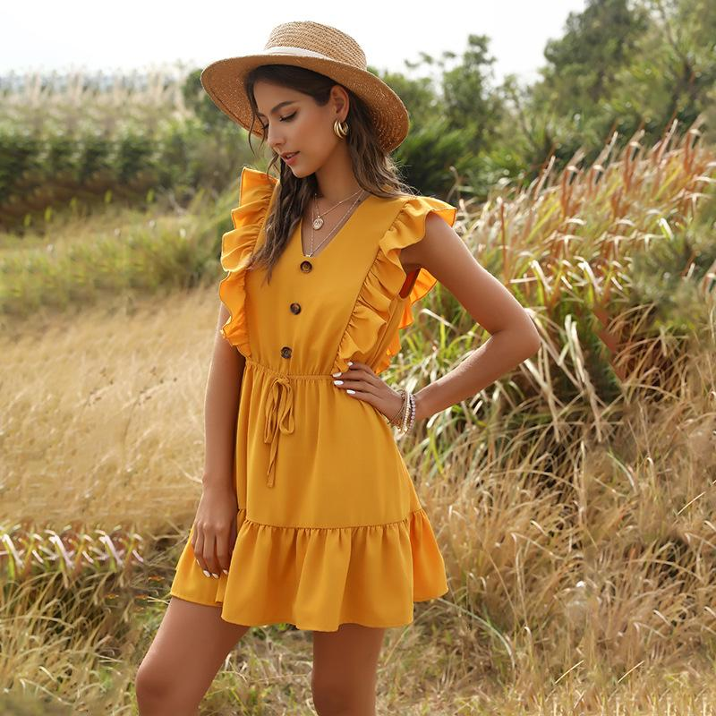 Cross-Border stile europeo e americano delle donne all'ingrosso 2020 di estate di nuovo giallo scollo a V increspato bolla Lace-up Dress T200801