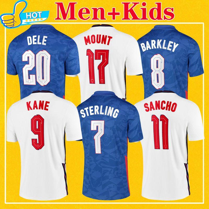 Англия футбол Джерси 2021 Home Away STERLING KANE RASHFORD SANCHO MOUNT ABRAHAM DELE TOP качества Дети Kit Мужчины 20 21 Футбол Рубашка