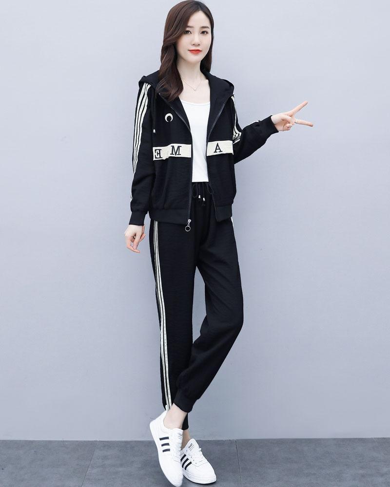 ZNISV e8p03 Повседневный спортивный костюм женский 2020 осень новый большой спортивный женской одежды размер Досуг Мода стиль западный темперамент двух частей
