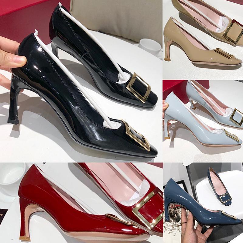 2020 Top Fashion Womens Shoes Salto Alto 7cm com casamento Soles Escritório de noiva couro envernizado lantejoulas Hi-Q Suave Praça Buckle Sapatos de couro