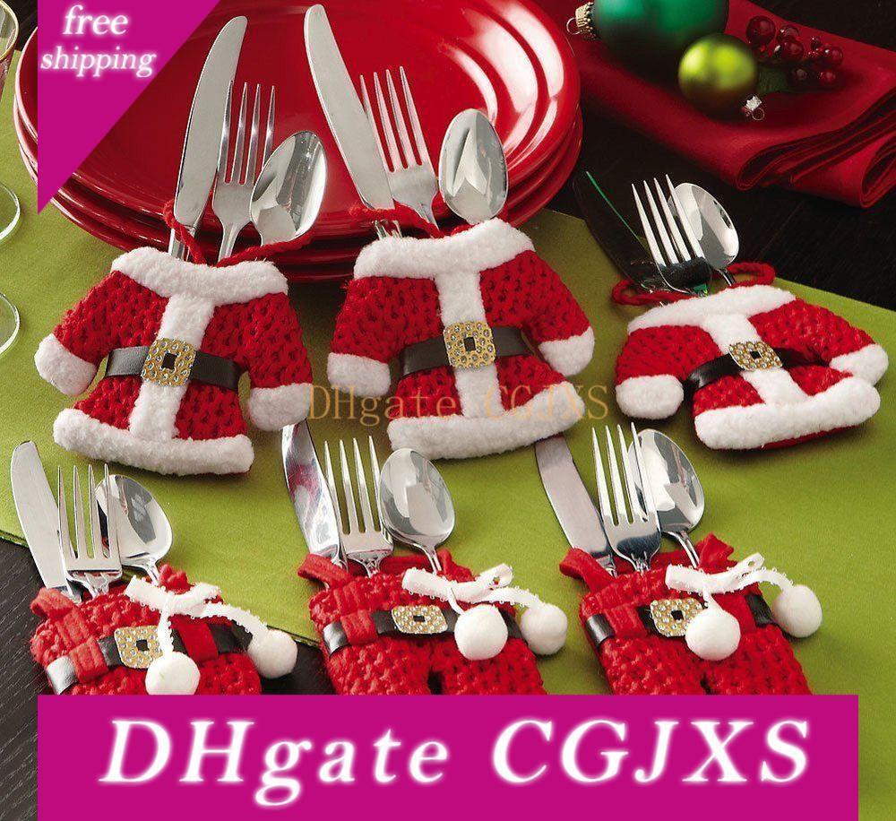 Weihnachts Messer und Gabel Besteck Set Verpackung Beutel Weihnachtsdekoration Dinner Tischdekoration Festliche Party Supplies Jxw223