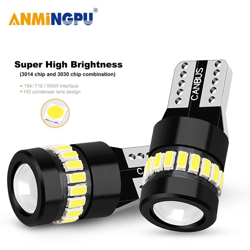 Lampada T10 ANMINGPU 2X segnale Led W5W 18SMD 3014 Chip W5W 168 194 bianco Auto Lamp Led Liquidazione luci della cupola della lettura Luce