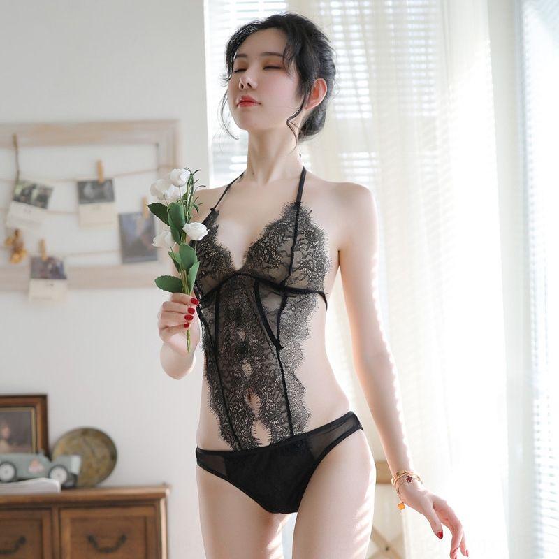 PZmiY Sexy V beleza fina volta renda preta de malha perspectiva transparente rendas profunda macacão feminino