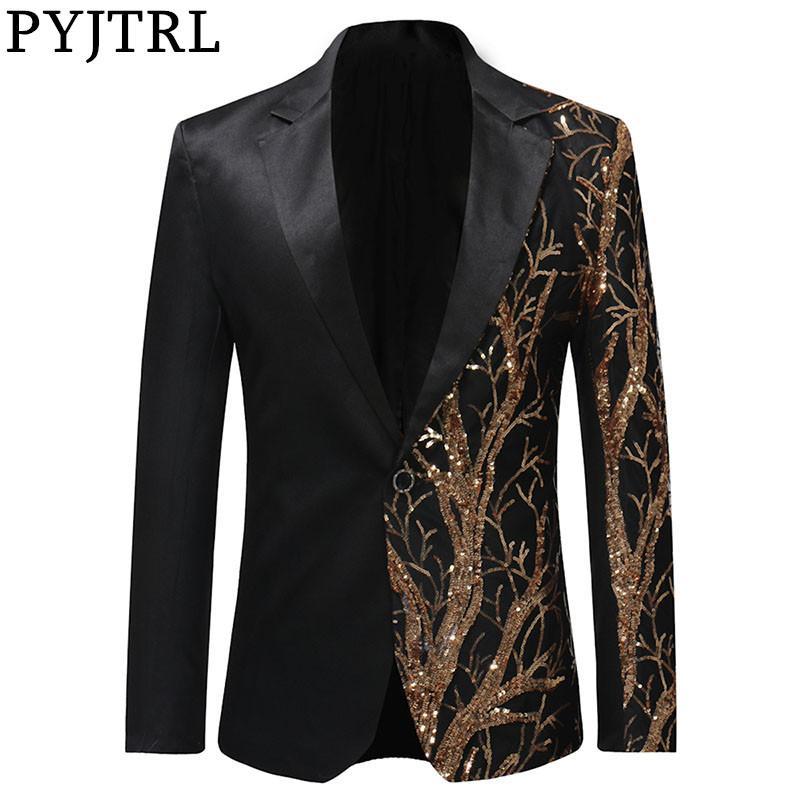 PYJTRL Tide Mens золота блестки Slim Fit черный Balzer Hip Hop Сценическое Singers платье костюм куртка партии куртка мужчин