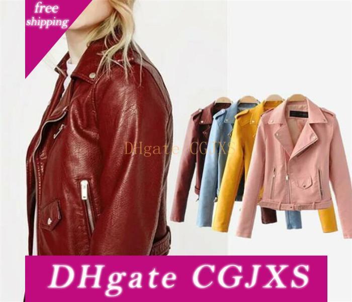 20pcs Femmes Casual Pu doux Manteau en cuir zippée Veste Motard Slim Hauts M320