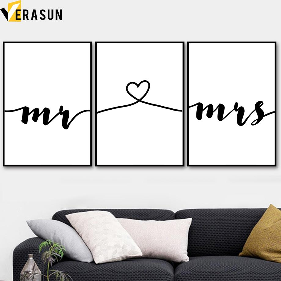 Nordic Minimalism Mrs Mr Love Story Wall Art Canvas Painting Posters And Prints Black White Wall Pictures For Living Room Decor