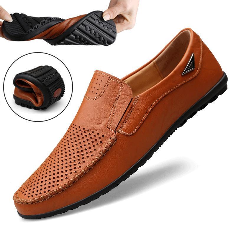Italianos sapatos masculinos Casual Verão Mens Loafers Couro Mocassins oco Out respirável deslizamento na condução Shoes