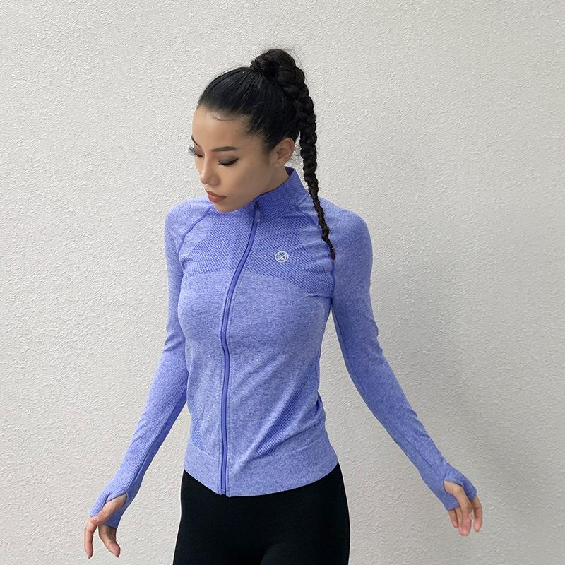 manica lunga T-shirt zipper la chiusura lampo delle donne di sport di modo T-shirt di fitness in esecuzione di yoga vestiti ad asciugatura rapida