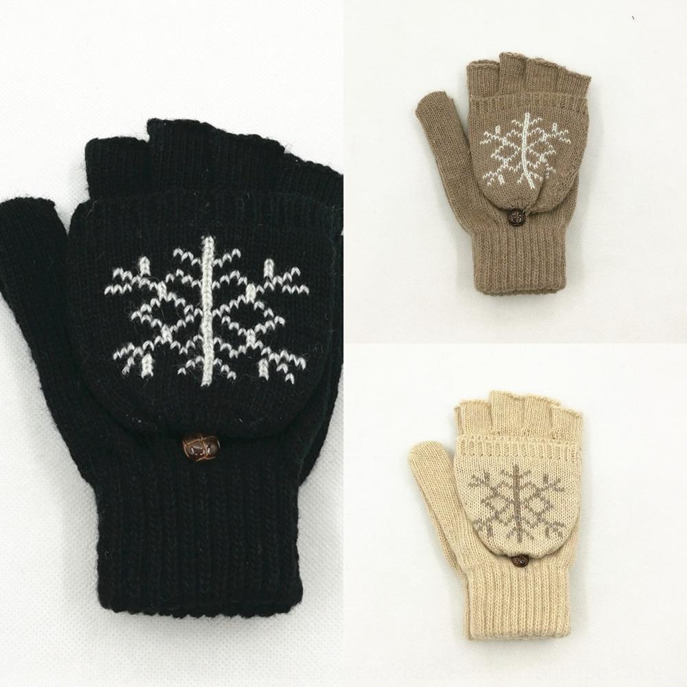 floco de flip-duplo uso quente metade do dedo quente pura lã e luvas dos homens e mulheres do cervo luvas de malha