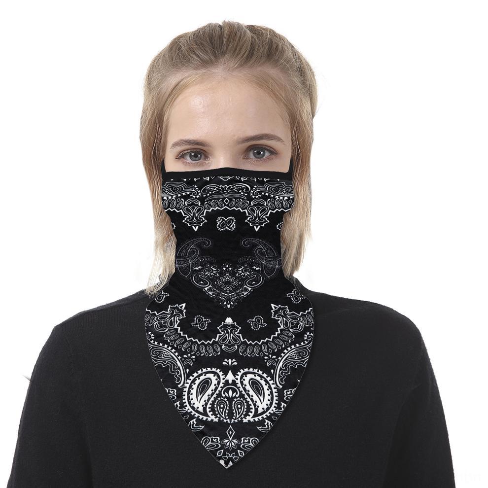 Pañuelo mágico tinte partido de la máscara de seda de hielo al aire libre de ciclo del casquillo del viento triángulo mágico del turbante de la motocicleta de la cara de impresión de la bufanda Máscaras Máscaras CFOea